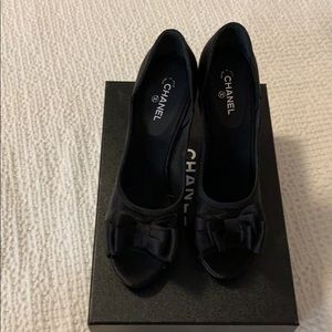 Chanel Mesh Satin open shoes